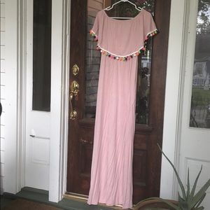 Pink Blush off the shoulder dress